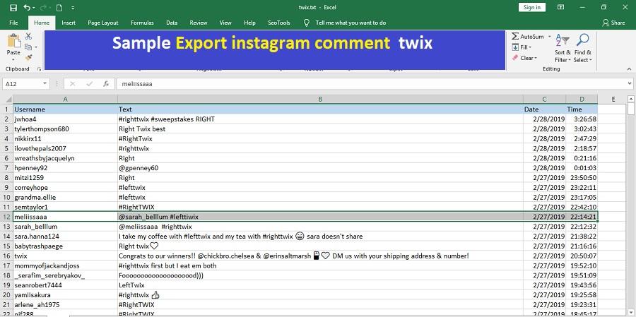 export instagram comments